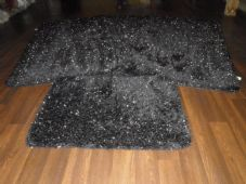 ROMANY GYPSY WASHABLES SPARKLY DESIGN SET OF 4PCS MATS NEW BLACK/SILVER NON SLIP